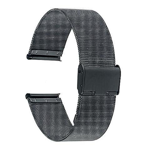 TRUMiRR 22mm Wire Mesh Stainless Steel Watch Band Strap Bracelet for Galaxy Gear 2 R380 R381 R382, Moto 360 2 46mm 2015, LG G Watch W100 W110 W150, ASUS Zenwatch 1 2 Men, Pebble Time / (22mm Mesh Watchband)