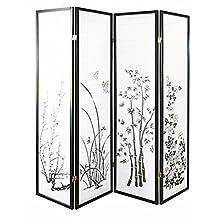 Magshion Oriental Room Divider Hardwood Shoji Screen (4 Panel Floral Print-black)