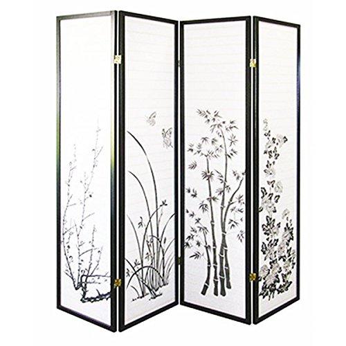 - Magshion Oriental Room Divider Hardwood Shoji Screen (4 Panel Floral Print-Black)