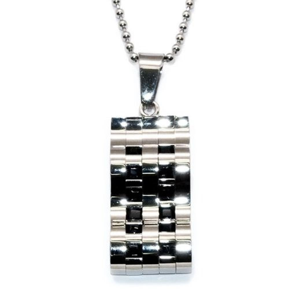 So Chic Jewels Stainless Steel Pendant Waved Tag Necklace
