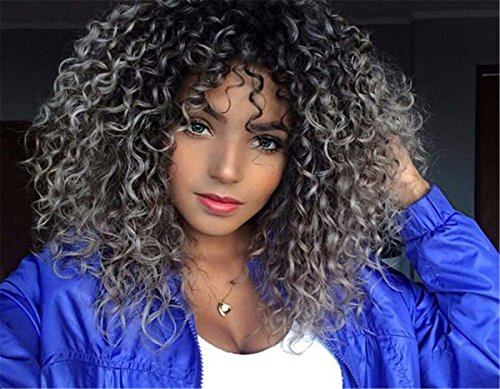 ATOZBeauty Afro Kinky Curly Wigs Heat Resistant Synthetic Curly Wigs Fluffy None Lace Short Women Natural Looking Hair (Ombre Black Silver Grey) -