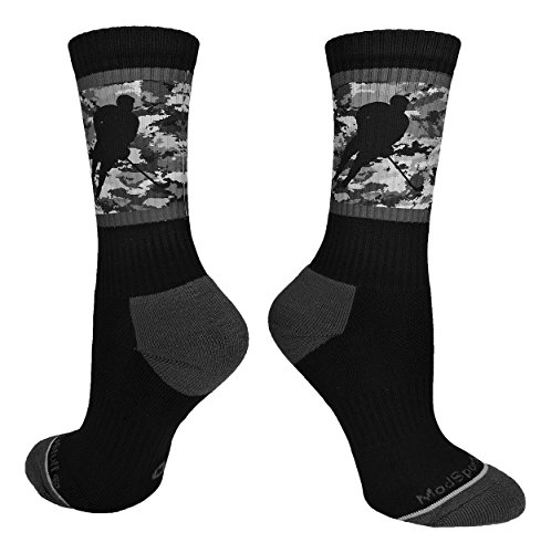 MadSportsStuff Hockey Player Crew Socks (Black/Graphite Camo, Small)