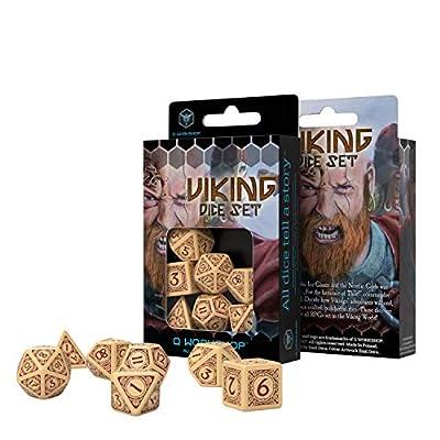 Q-Workshop Viking Beige & Burgundy Dice Set (7): Toys & Games