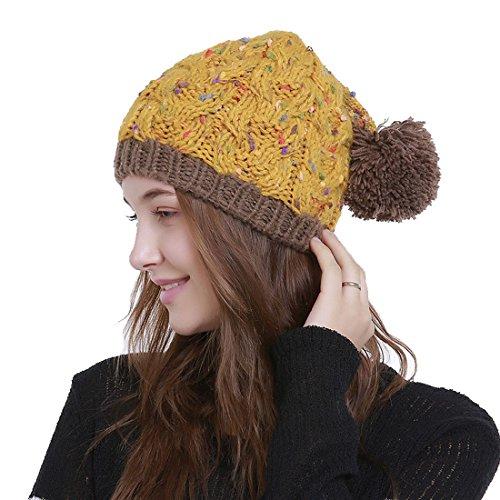 Avec Acvip Jaune Pompon Multicolore Femme Tricot Bonnet Chapeau Crochet aqS7R