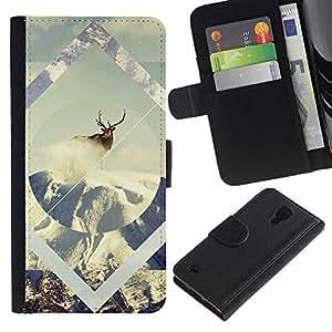 Leather Etui en cuir    Samsung Galaxy S4 IV I9500    Geometría de la nieve de los ciervos @XPTECH