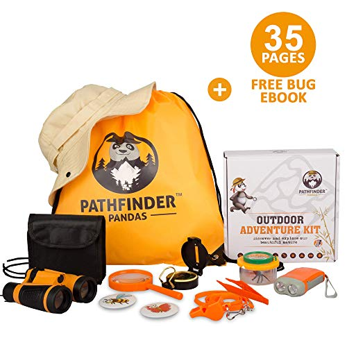 Catching Fireflies Costume (Kids Explorer Kit | Premium Kids Camping Toys and Outdoor Adventure Kits for Boys and Girls 3-12 Years Old |Backyard Safari Hat Kids Binoculars, Flashlight, Bug Kits for Kids, Compass,)
