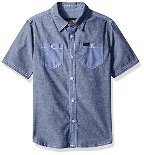 LEE Boys' Little Short Sleeve Button Up Shirt, Navy, M -