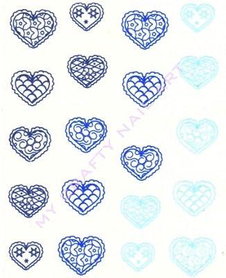 Azul corazón uñas de Vinilo/tatuaje/adhesivo: Amazon.es: Salud y ...