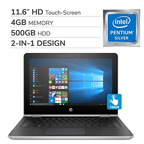 HP Pavilion X360 2-in-1 2019 Premium 11.6'' HD Touch-Screen Laptop Notebook Computer, Intel Pentium N5000, 4GB RAM, 500GB Hard Drive,Wi-Fi,Bluetooth,Webcam,HDMI,No DVD,Windows 10 Home