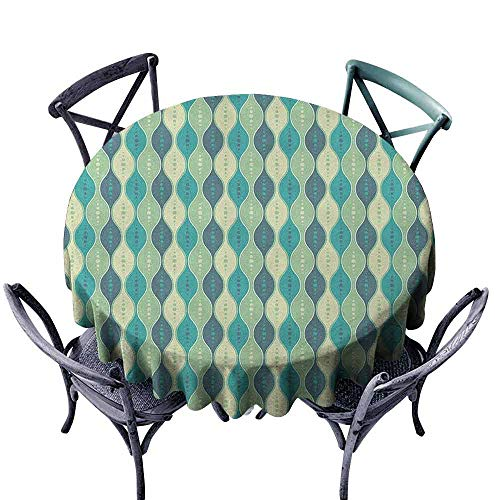 G Idle Sky Abstract Washable Table Cloth Oval Curved Vertical Lines with Classic Effects Dots Retro Graphic Great for Buffet Table D63 Sea Green Petrol Blue