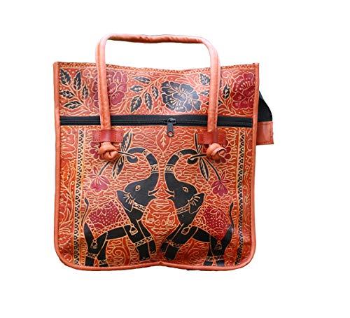 Lonika Handmade Leather Ethnic Vintage Tribal Tote Shoulder Bag Purse for women (Orange)