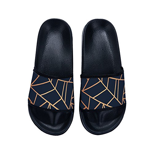 Slippers Black Drying Quick Slip Lines Slippers Pattern for Slippers Non Geometric Womens Gold rqr7R