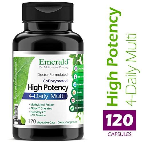 High Potency 4-Daily Multi - Multivitamin Clinical Potency Formula + CoQ10 & Vitamin K2 MK-7 - Emerald Laboratories - 120 Vegetable Capsules (High Potency Formula Vitamins Stress)
