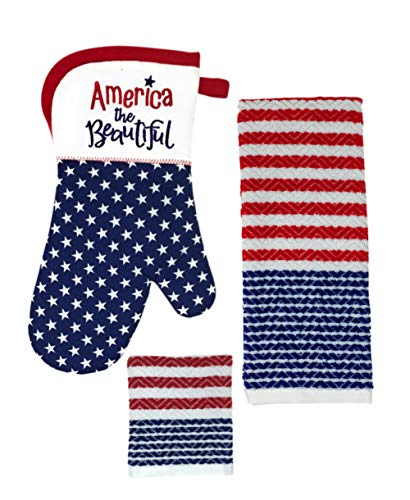- Rex and Rover Patriotic American Flag Kitchen Decor Gift Set - 3 Piece Set - Oven Mitt Towel Dishcloth