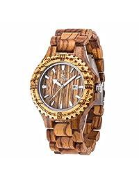Morrivoe Mens Natural Wood Watches 49mm Case Analog Display Japan Quartz wristwatches Gift (Yellow)