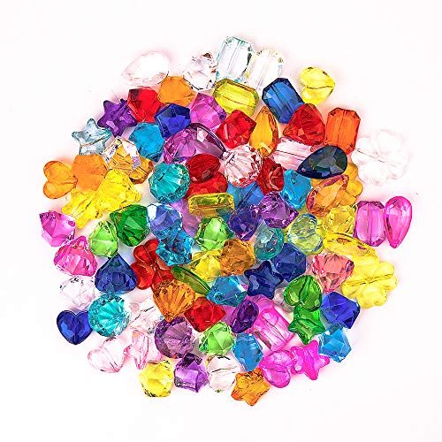 IVLWE 90 PCS Assorted Multicolor Multi-Shape Crystal Gems with Hole for String Beads of Necklace/Ring/Bracelet Art Craft Toys and DIY Jewelry Crystal Kit with Bag for 3, 4, 5, 6, 7, 8 Year Old Kids