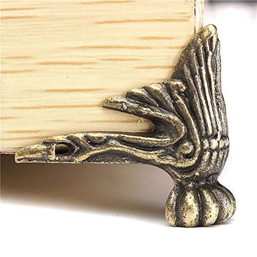 HuaYang 4 X Antique Brass Wood Case Jewelry Chest Storage Box Feet Leg Corner Protector