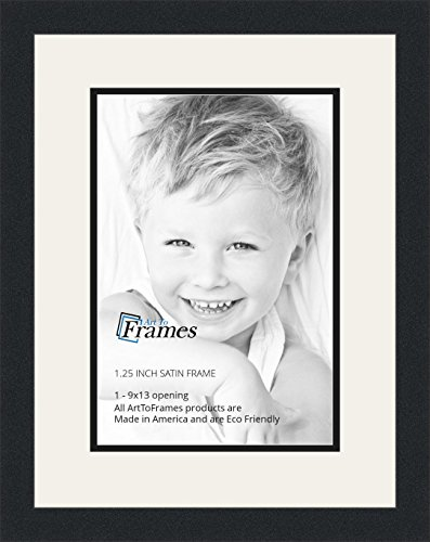 ArtToFrames Collage Photo Frame Double Mat with 1 - 9x13 Openings and Satin Black Frame (Photo 1 Inch Frames)