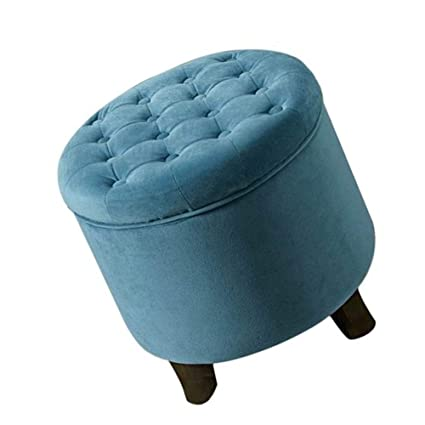 Terrific Amazon Com Round Tufted Ottoman Low Foot Rest Stool Wooden Inzonedesignstudio Interior Chair Design Inzonedesignstudiocom