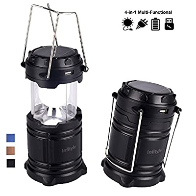 Camping Lantern - LED Solar Rechargeable Camp Light Flashlights - Emergency Lamp - Power Bank for Android Cell Phone IOS Iphone