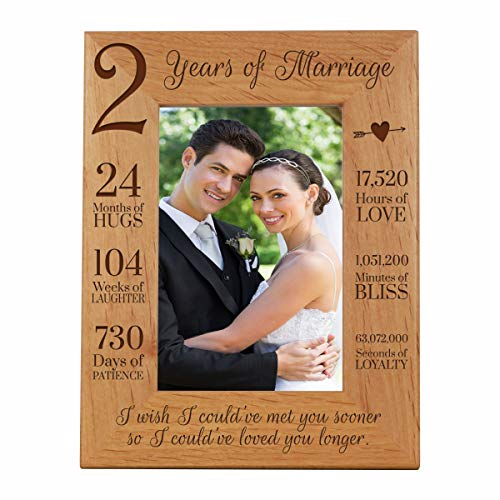 LifeSong Milestones 2nd Anniversary Picture Frame 2 Years of Marriage - Two Year Wedding Keepsake Gift for Parents Husband Wife him her Holds 5x7 Photo - I Wish I Could of met You Sooner (7.5x9.5)