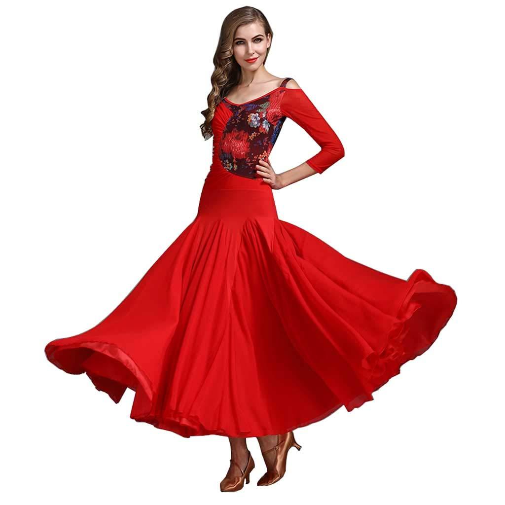 大人のロングスリーブモダンダンスドレス、ドレスフォーシーズンズレッドポリエステル B07H2Z37H7 XL|レッド レッド XL