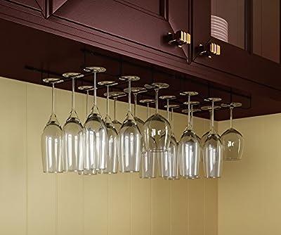 Wallniture Napa Stemware Wine Glass Hanger Rack Under Cabinet Kitchen Bar Storage Black 13.5 Inch Set of 2