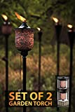 Deco Home (Pack of 2 66-inch 4 in 1 Mosaic Tulip Garden Outdoor Metal Citronella Flame Torch/Tikki Torch/Marshal for Patio Yard Deck Path Lawn Backyard