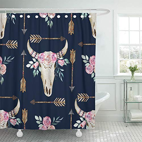 Emvency Decorative Shower Curtain Skull Watercolor Boho Pattern with Deer Antlers Bohemian Western Ethnic Bull Indian 66