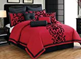 10 Piece Queen Dawson Black and Red Comforter Set