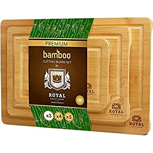 Bamboo Cutting Board with Juice Groove (3-Piece Set) – Kitchen Chopping Board for Meat (Butcher Block) Cheese and Vegetables | Heavy Duty Serving Tray w/Handles