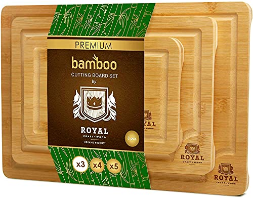 Bamboo Cutting Board Set with Juice Groove (2 Pieces) – Wood Cutting Boards for Kitchen, Wood Cutting Board Set, Kitchen…