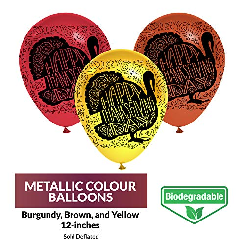 (Thanksgiving Day Balloons - Biodegradable Natural Latex - 3 Metallic Fall Colors - Burgundy, Brown, Yellow - Home Decor - 40 Balloons - with Festive Print - Celebrate with Friends & Family)
