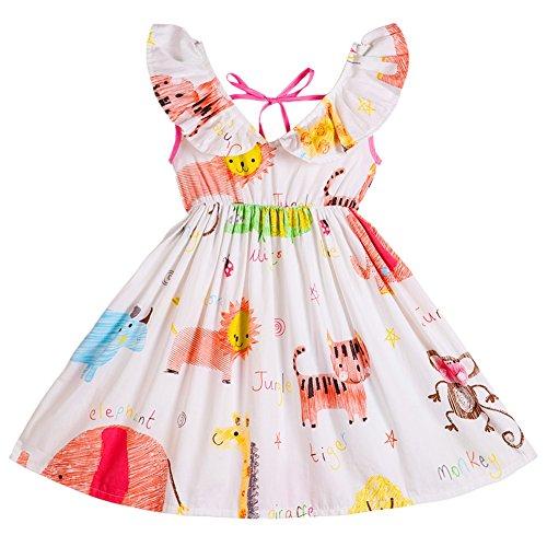 Skirt Cotton V-neck (Kseniya Kids Big Little Girls' V Neck Dresses Animal Print Flower Summer Girl Casual Dress Cotton (3-4y))