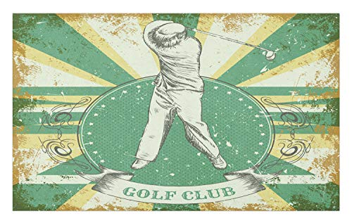 Lunarable Vintage Doormat, Retro Poster Print Man Playing Golf Golf Club Words on Grunge Background, Decorative Polyester Floor Mat with Non-Skid Backing, 30 W X 18 L Inches, Yellow Beige