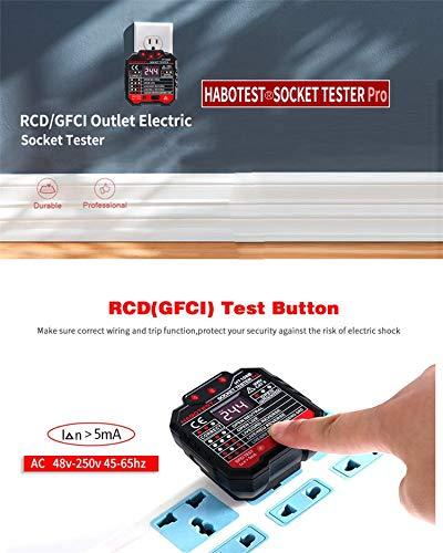 GZCRDZ HT106 EU//UK Socket GFCI Outlet Tester Circuit Polarity Voltage Detector Wall Plug Breaker Finder RCD Test EU Plug