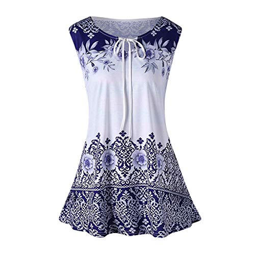 Tank Top Boho Floral Summer Sleeveless Shirts Blouse Vest Fashion Plus Size Printed Tank Tops Sleeveless Blouse Keyhole T-Shirt Women (3XL,4- Blue)
