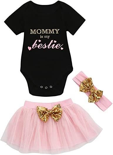 3PCS Toddler Baby Girl Outfits Clothes Letter Print Romper Tops+Tutu Shorts Sets