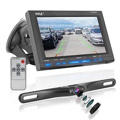 """Rear View Backup Car Camera - Screen Monitor System w/ Parking and Reverse Assist Safety Distance Scale Lines, Waterproof & Night Vision, 7"""" LCD video Color Display for Vehicles - Pyle PLCM7500"""