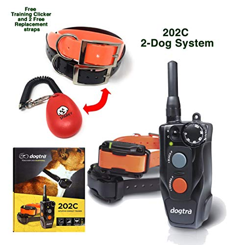Dogtra 202C 2-Dog System with 2 Free Straps and Dog Training clicker