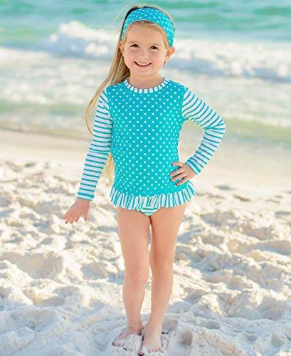 RuffleButts Baby/Toddler Girls Rash Guard 2-Piece Long Sleeve Swimsuit Set - Aqua Stripe Polka Dot UPF 50+ Sun Protection
