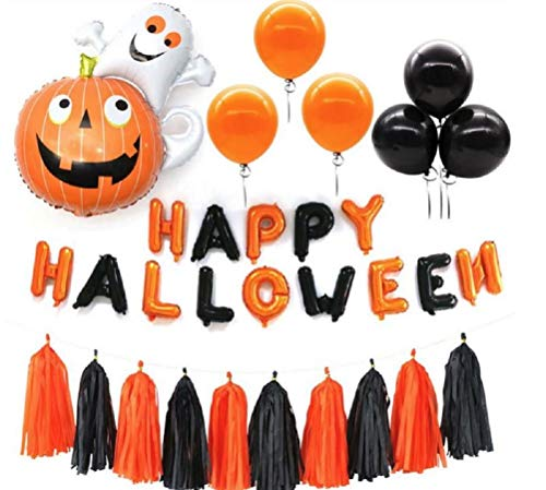 Happy Halloween Party Balloon Banner - Fringe Tassel Garland Decor Set - Foil Ghost & Latex Balloons Included - Orange & Black Helium Quality Decorations - by Jolly Jon TM -