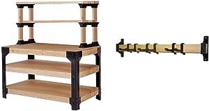 2x4basics 90164 Custom Work Bench and Shelving Storage System, Black & 90101 2x4basics Stud Track Storage System