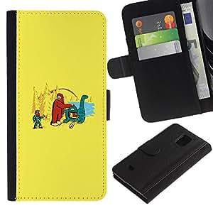 Stuss Case / Funda Carcasa PU de Cuero - Bigfoot & Loch Ness - Funny - Samsung Galaxy S5 Mini, SM-G800