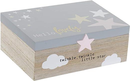 Hogar y Mas Caja Infantil con Frase y Diseño de Estrellas, de Madera MDF 22x15x8,5 cm: Amazon.es: Hogar