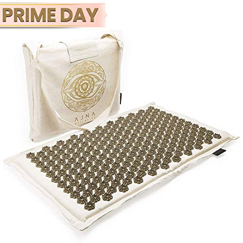 Eco Acupressure Massage Mat Natural Organic Linen Cotton | Acupuncture Mats for Neck, Back, Reflexology, Sciatica, Trigger Point Massage Therapy, Manual Massage, Stress Relief Pad, Carry Bag (Natural)