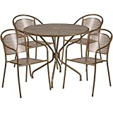 "Flash Furniture 35.25"" Round Gold Indoor-Outdoor Steel Patio Table Set with 4 Round Back Chairs"