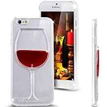 "iPhone 6 Case, iPhone 6 Red Wine Case, NSSTAR iPhone 6 Case 4.7"" (2014 Version),Liquid Case for iPhone 6,Case for iPhone 6,Hard Case for iPhone 6, Fashion Creative 3D Design Flowing Liquid Red Wine Glass Design Clear Back Hard Case Cover for Apple iPhone 6 with 4.7 inch Screen (Red Wine Glass:Red)"
