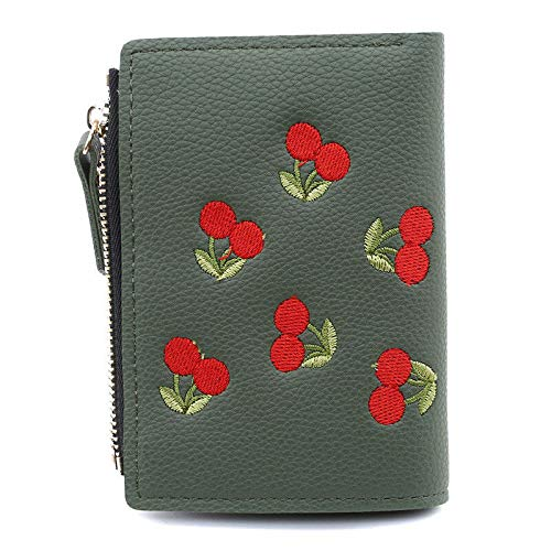 Calfskin Billfold Wallet - Popular Women Purse Folding Card Holders Wallet Cherry Embroidery Coin New Tide (Color - Dark Green)