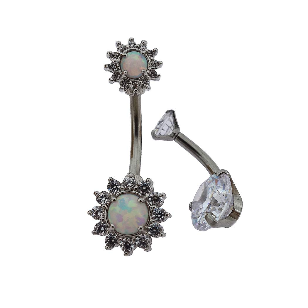 Piercing Fairyland 316L Surgical Stainless Steel PVD Plated White Sun Flower Cubic Zirconia Body Jewelry Shiny Belly Button Rings